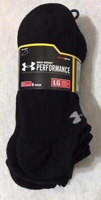 Under Armour Performance  6-Pair Men's Cotton No Show Socks Large Black  (9290)