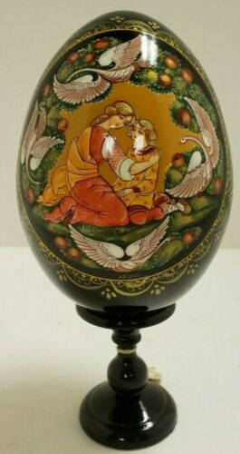 G. DeBrekht Russian Wood Egg on Pedestal