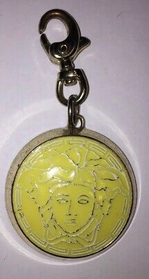 Versace Parfums Medusa Head Face Keychain Ring Charm Clip Pendant Silver Yellow