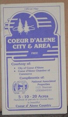 1986 Street Map of Cour D'Alene, Idaho with Local Advertising