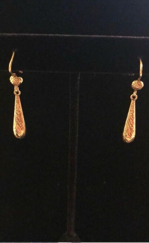 14k Gold Victorian Pendant Earrings