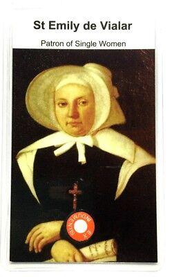 Saint Emily de Vialar relic card, patron of single women (Saint Emily De Vialar Patron Saint Of)