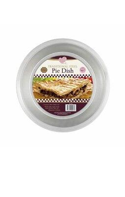 Traditional Steel Round Pie Dish Pan 22.8cm x 2.5cm Flan Quiche Tart Baking Cook