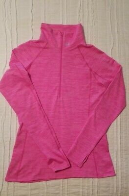 Women's Under Armour Semi-Fitted COLD Gear Long Sleeve Zip Neck Shirt Pink Large