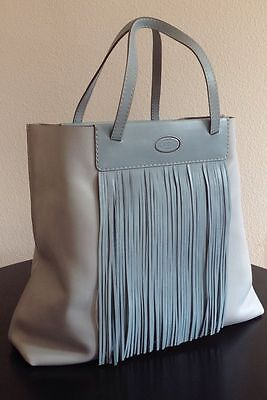 NEW TOD'S FRINGE LEATHER SHOULDER BAG FRANGE GRANDE MEDIA TOTE BABY BLUE PINK