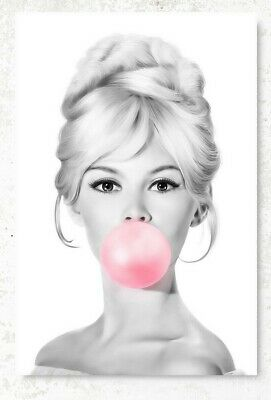 Brigitte Bardot Chewing Bubble Gum Poster Black & White Poster French Actress