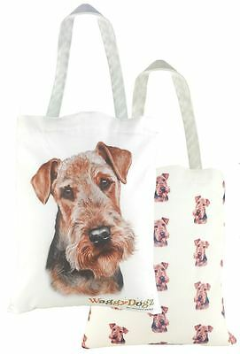 EVANS LICHFIELD MADE IN UK COTTON TOTE CLOTH SHOPPING BAG AIREDALE DOG