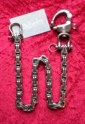 XL Geldbeutelkette Hosenkette Edelstahl Wallet Chain Biker Rockabilly 55/12cm