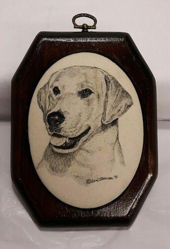 Vintage Signed Earl Sherwan Labrador Lab Dog Etched Wall Plaque