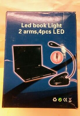 2 Arm Flexible Black Clip-On Book Reading Desk Music Stand LED USB Light Lamp