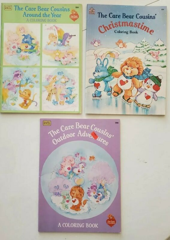 Care Bears Cousins 80s Vintage Coloring Book Lot RARE GREAT CONDITION