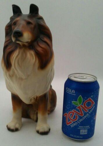 """LARGE Vintage Lassie Collie Dog Ceramic Figurine Japan  10"""" Tall Mid Century MCM"""