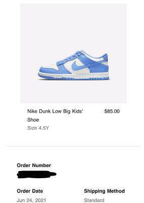 Nike Dunk Low UNC(2021) Brand New Size 4.5Y GS