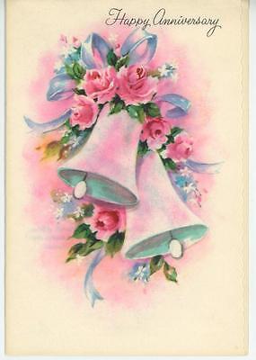 VINTAGE PINK ROSES WEDDING BELLS FRANCIS QUARLES POEM GREETING CARD ART PRINT ()
