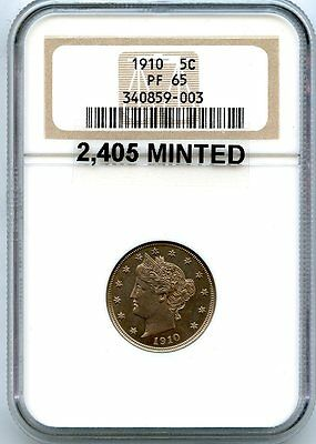 C5729- 1910 PROOF LIBERTY 'V' NICKEL NGC PF65 - 2,405 MINTED