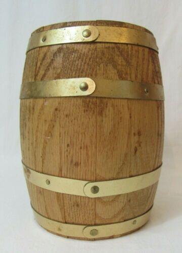 "CNB BANK Wooden Barrel Bank W/ KEY 6"""