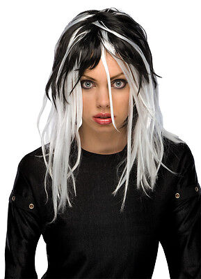Womens Long White & Black Wig Streaked Gothic Hair Rocker Costume Punk - Female Rocker Costume