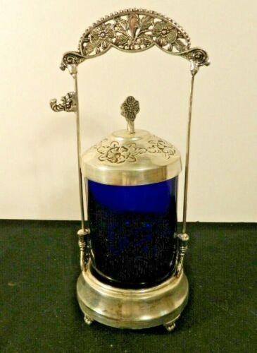 Vintage Reproduction Silver Plate Pickle Castor With Cobalt Blue Jar No Tongs