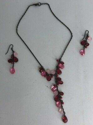 Unbranded Womens Pink Stones Necklace & Earrings Set 16 (16in Necklace Set)