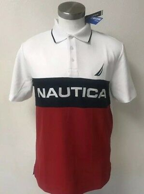 New Nautica Men Polo Embroidered Shirt Size M Red White Blue wicking Breathable
