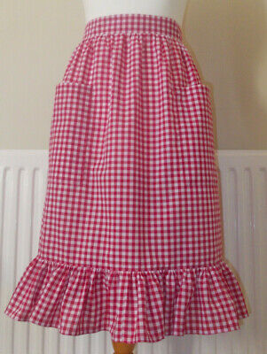 Frilly 'Red Gingham' Vintage Style Waist Apron/Pinny