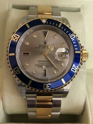 Rolex Submariner 16613 Steel original Serti Silver dial 40mm Automatic watch