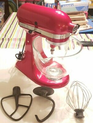 KitchenAid Artisan 5 Quart Tilt-Head Stand Mixer with Glass Bowl, KSM155GBCA