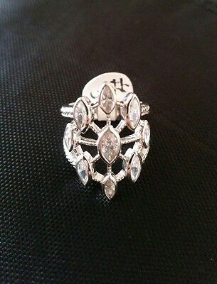 Stunning  Clear Rhinestone Ring Sterling Silver 925 Size 5