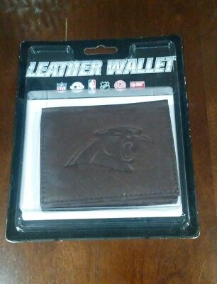 New NFL Carolina Panthers BROWN Leather Tri-Fold Wallet  -PMJS ()