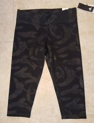 New Adidas Womens Embossed Brushtroke Tights Capri 3/4 length Black Sz Small 3/4 Length Womens Tights