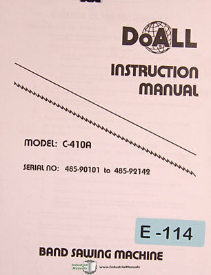 Doall C-410a Band Saw Install Operations And Maintenance Manual