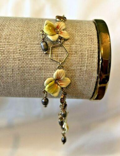 Les Nereides Stunning Vintage Gold Tone Enamel Floral Charm Bracelet