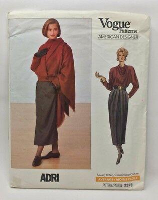 Vintage Vogue-Schnittmuster 2370 Adri Misses Jacke Rock Top und Schal Vintage Und Vogue