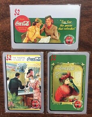 Lot of 3 1995 Coca Cola Phone Cards From Sprint/Scoreboard Expired