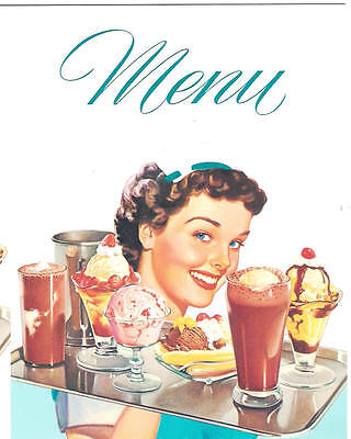 DINER MENU With Waitress for 1950s Diner Cafe Soda Fountain Carop Drive-In Party (1950s Waitress)