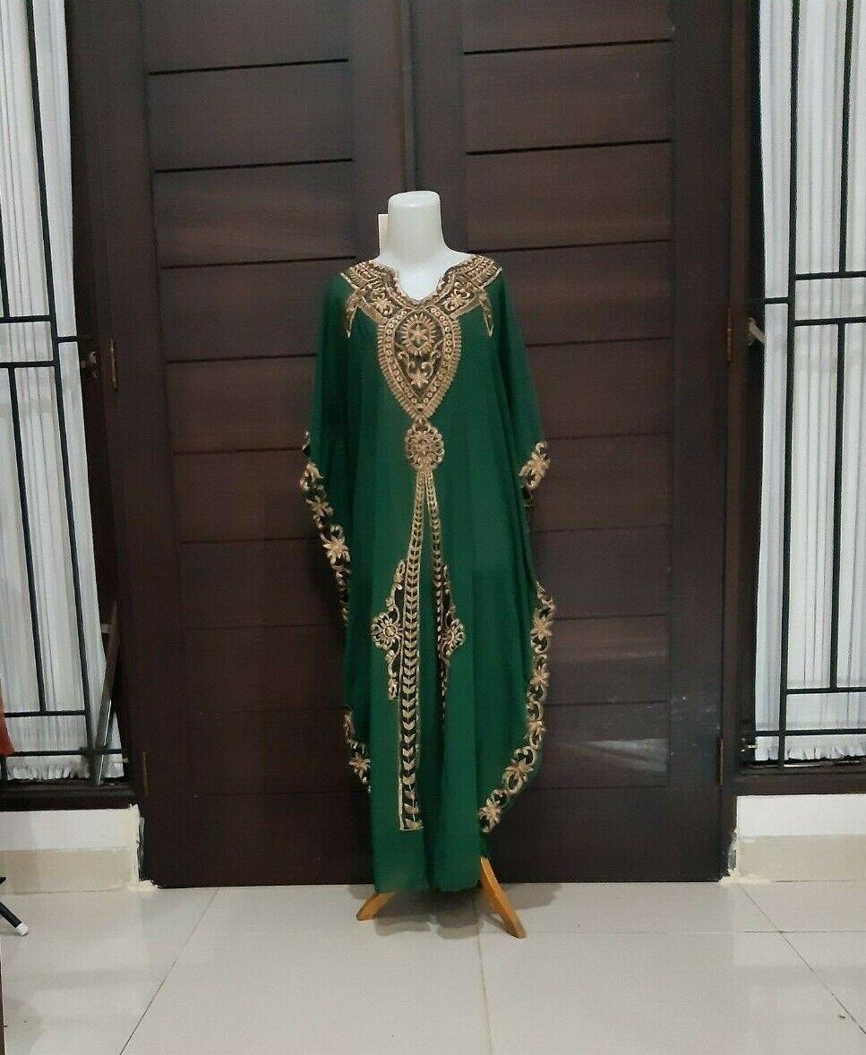 Moroccan Dubai abaya kaftan Luna bottle green lace maxi dres