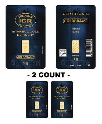 Lot of 2 - 1 Gram IGR Mint 999.9 Gold Bar Sealed with Assay Certificate 24 Karat