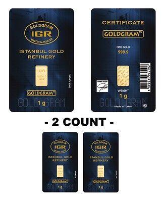 Lot of 2 - 1 gram Istanbul Gold Refinery (IGR) Bar .9999 Fine (In Assay Card)