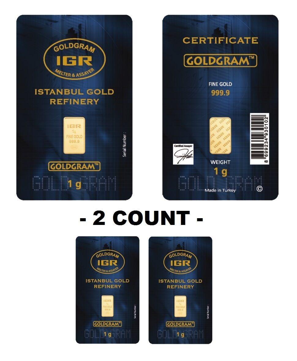 Lot of 2 - 1 Gram IGR Mint 999.9 Gold Bar Sealed with Assay Certificate 24 Karat