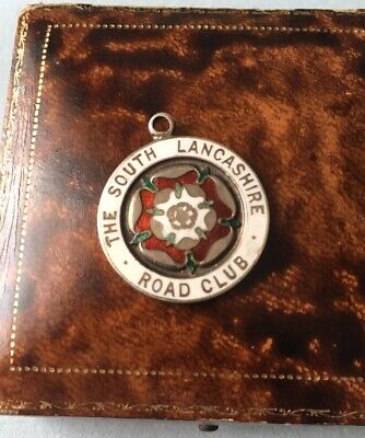 ANTIQUE ENGLISH SILVER AND ENAMEL POCKET WATCH CHAIN FOB MEDAL ROAD CLUB