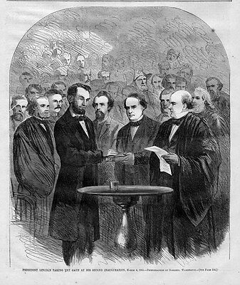 President Abraham Lincoln Taking Oath At Second Inauguration 1865 History