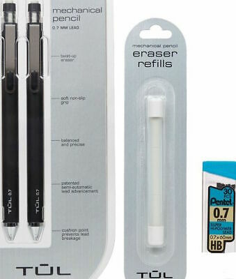 Tul Black 0.7mm Mechanical 2pencils Pentel Leads Eraser Refills