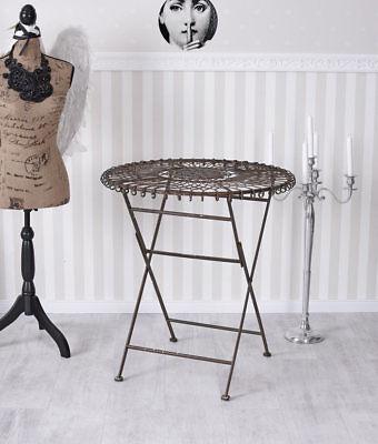 Gartentisch Schmiedeeisen rund Tisch Klapp- Metalltisch Beistelltisch Terassen-