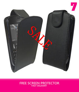BLACK FLIP LEATHER CASE COVER FOR NOKIA ASHA 300 & FREE SCREEN PROTECTOR