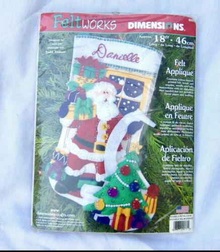 NEW Dimensions Santas List Feltworks Applique Christmas Stocking Kit 8095 USA