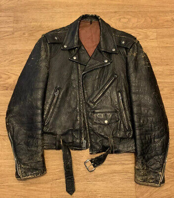 Vintage Black Leather Motorcycle Biker Jacket Full Zip Buckle Men's Large for sale  Shipping to India