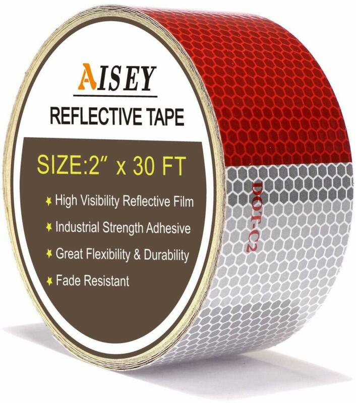 """2"""" X 30ft Reflective Safety Tape DOT C2 Red White For Traile"""