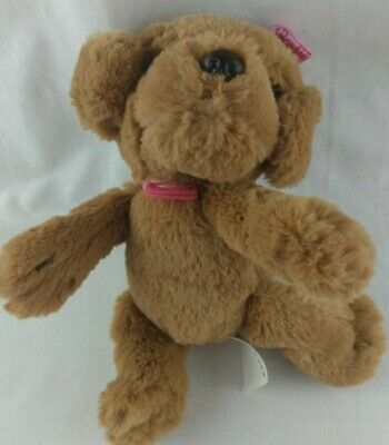 """Just Play Barbie Great Puppy Adventure Plush Brown Dog Pink Bow Stuffed 6"""" F5"""