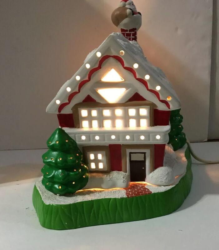 VTG Lighted Christmas Ceramic  Lighted House w/ Base Santa in Chimney