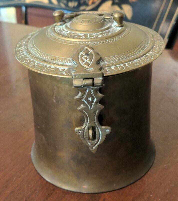 Antique Brass Tea Tobacco Caddy Box Anglo-Indian